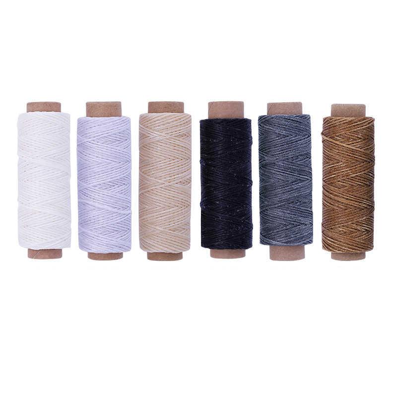 6 sztuk 50M skóra woskowana nić przewód dla majsterkowiczów narzędzie kaletnicze nici do szycia ręcznego płaskie woskowane szycia skóry wosk linii 50 m/rolka
