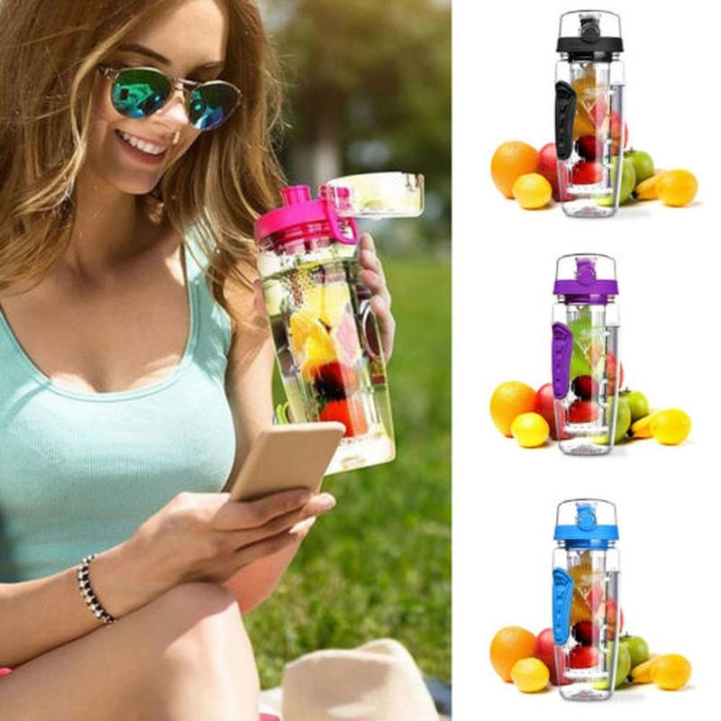 Fashion 1000ml Fruit Infusing Infuser Water Bottle BPA Free Plastic Sports Detox Health