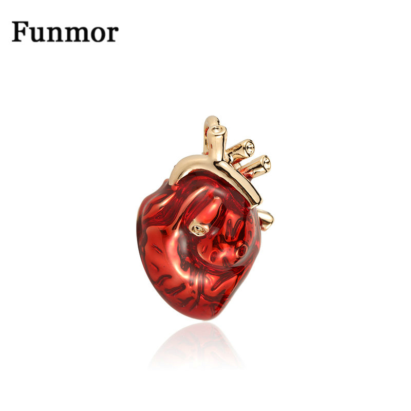 Funmor Red Enamel Heart Brooches For Women And Men Hospital Clinic Professional Uniform Brooch Pins Team Gifts Accessories(China)