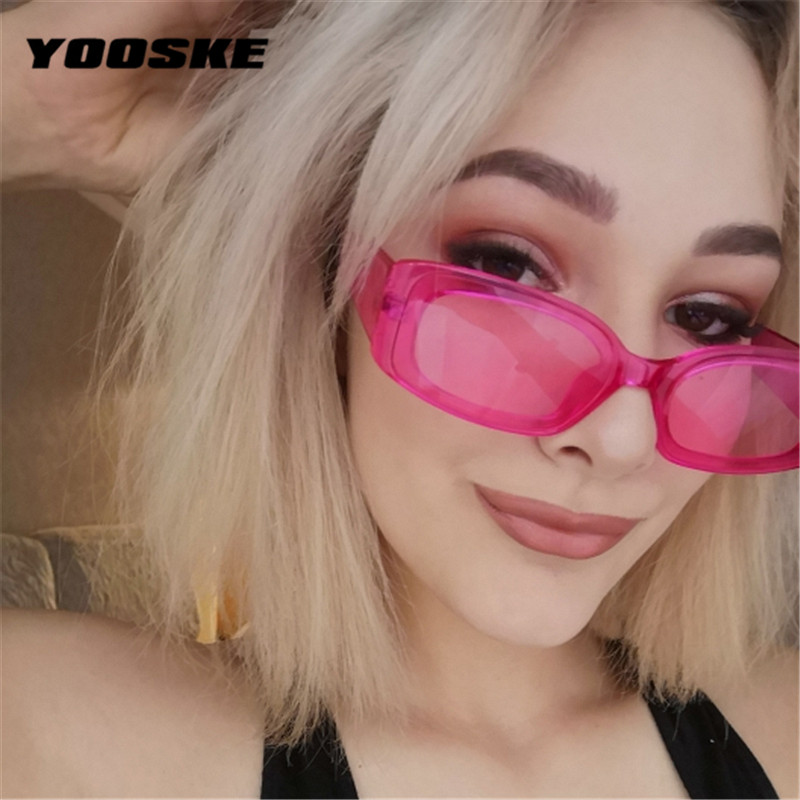 YOOSKE Vintage Small Square Sunglasses Women Brand Designer Retro Sunglass Rectangle Sun Glasses Female Candy Color Eyewears