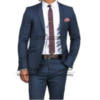 Gorgeous Slim Dark Blue Wedding Suits For Men Custom Made Men Blue Suit 2020 Fashion Style Business Suits TAILORED Blue Tuxedo