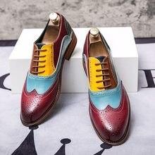 Moda masculina sapatos brogue tamanho grande 47 48 sapatos de festa de casamento sapatos de couro masculinos rendas até sapatos de vestido de dedo apontado multi cor sapatos formais