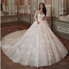 Trouwjurken 2020 Vestido De Noiva Half Mouwen Prinses Sexy Scoop 3D Bloemen Vintage Bruidsjurken