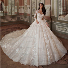 Wedding Dresses 2020 Vestido De Noiva Half Sleeves Princess Sexy Scoop 3D Flowers Vintage Bridal Gowns