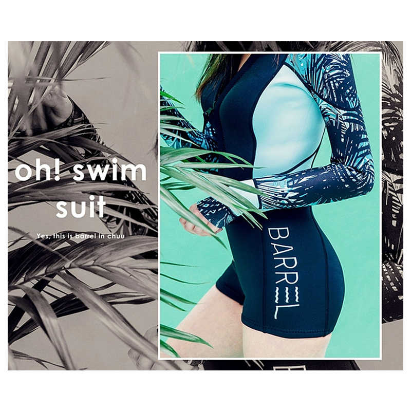 Satu Potong Pakaian Renang Wanita Lengan Panjang Baju Renang Sport Surfing Pakaian Renang Ruam Penjaga Wanita Wetsuit Baju Renang Maillot De Bain