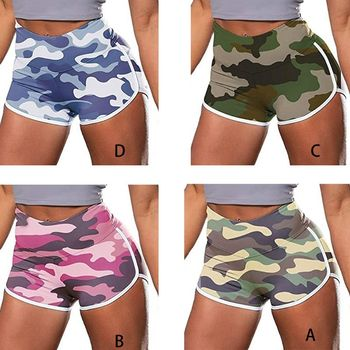 Women Camouflage Workout Shorts Ruched Butt Lift Sport Gym Push Up Hot Elastic High Waist Stretch Dolphin Striped Leggings women plus size camouflage print workout shorts high waist compression leggings ruched butt lifting fitness running hot