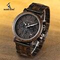 Мужские наручные часы BOBO BIRD Wood, деревянные наручные часы с секундомером erkek kol saati, подарок для мужчин