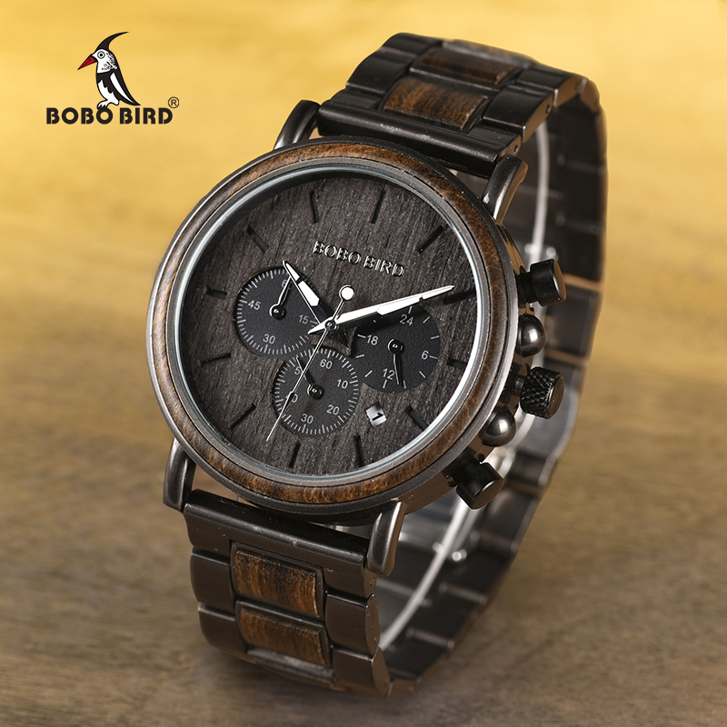 BOBO BIRD Wood Watch Men Stopwatch Erkek Kol Saati Wooden Wristwatches Male Show Date Create Gift  Saat Erkek Relogio Masculino