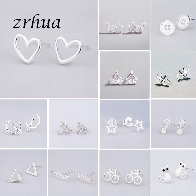 925 Sterling Silver Needle Women Jewelry Fashion Cute Chic Stud Earrings For School Girls Kids Lady Gift Pendientes Oorbellen