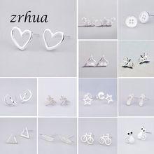 925 Sterling Silver Needle Women Jewelry Fashion Brincos Chic Stud Earrings for School Girls Kids Lady Gift pendientes oorbellen cheap zrhua geometric TRENDY Metal Push-back