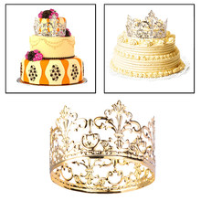 Tiara Kroon Partij Taart Decoratie Kroon Haar Sieraden Bruiloft Benodigdheden Accessoires Crown Cake Topper Metal Party Decoraties(China)