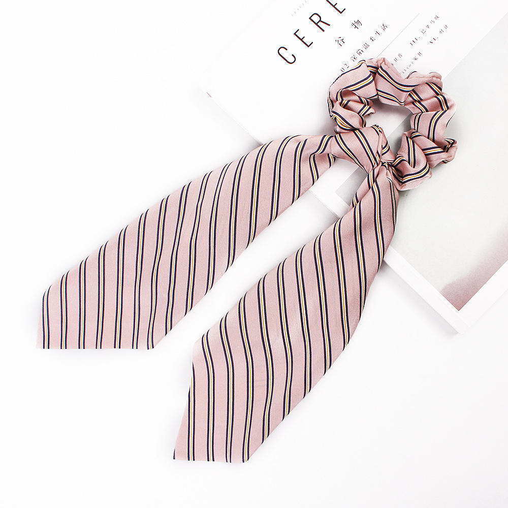 H4a0047d327ec4f5b8ca630b1ebaa37b7a - Fashion Silk Satin Summer Ponytail Scarf Stripe Flower Print Ribbon Hairbands Hair Scrunchies Vintage Girls Hair Accessoires