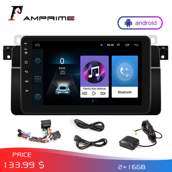 AMPrime Autoradio Stereo Android 2Din Car Multimedia player GPS WIFi For BMW/E46/ FM Mirrorlink Radio With Rear camera Monitor image