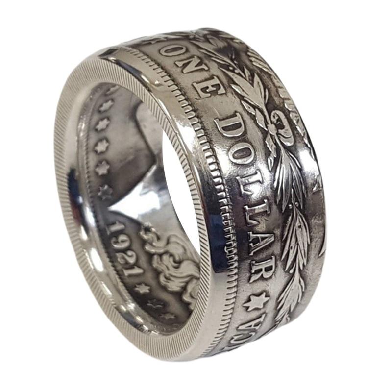 Кольцо с монетницей «Морган», серебряное покрытие ручной работы для мужчин и женщин, Винтажное кольцо с монетницей в стиле панк, модные ювел...