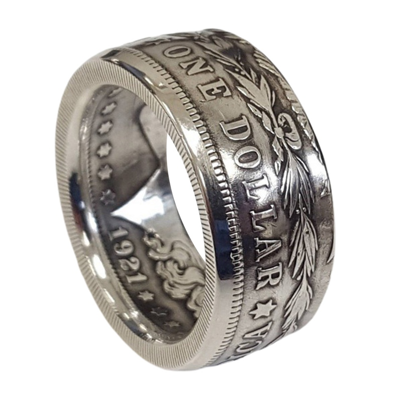 Morgan prata dólar moeda anel plated headsheadbanhado a prata artesanal feminino vintage punk personalidade moeda anéis moda jóias