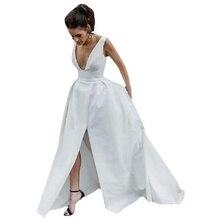 Sleeveless Princess Wedding Dresses Dress Sexy Deep V Split Satin Off White Belt Weddingdress