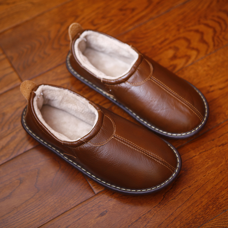 Genuiner Leather Couple's Winter Home Slippers Warm Soft Anti-Skip House Casual Shoes Men And Women Indoor Slippers