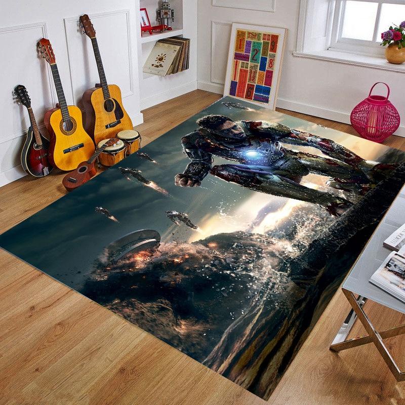Cartoon Playmat US Captain/The Avenger Thick Carpet Iron Man Mat For Living Room Doormat Resin Print Bedroom Non-slip Floor Rug