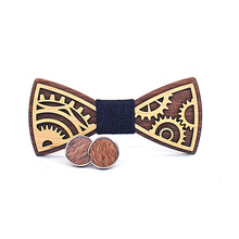 2018 Brand New Gear Panel Wedding Bowtie Men's DIY Wooden Cufflinks Set