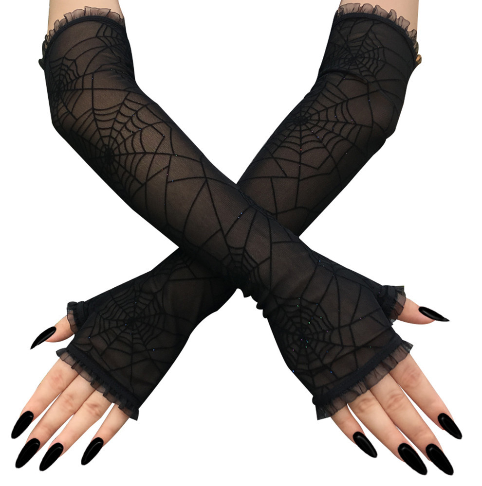 Unique Spider Women Formal Bridal Long Party Banquet Party Wedding Black Gloves Cosplay Half Finger Net Yarn Gloves Guanti Pizzo