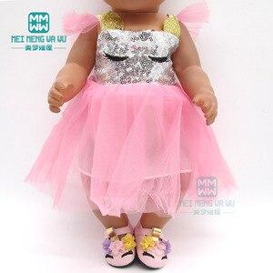 Image 3 - בגדי בובת שמלת פאייטים נעלי fit 43 45cm תינוק צעצוע חדש נולד בובת ואמריקאי בובת אבזרים ילדה של מתנה