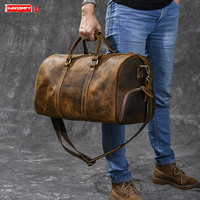 Retro large capacity men's handbags male crazy horse leather travel bag men shoes bag Bucket shoulder luggage bags