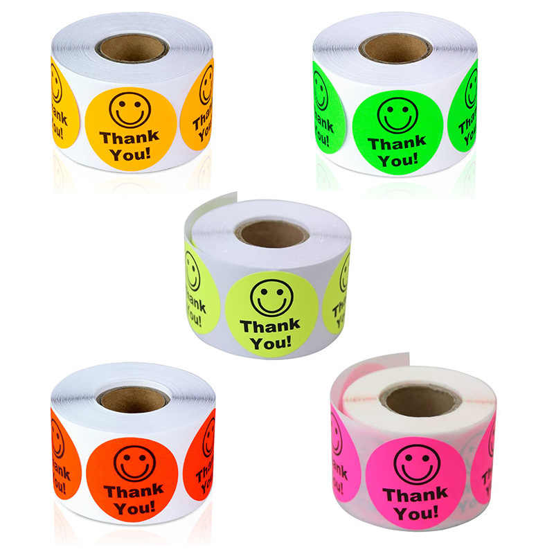 500Pcs Roll/Leuke Smiley Stickes Gelukkig Beloning Dank U Stickesr 1 Inch Ronde Seal Labels Kantoorbenodigdheden Sticker