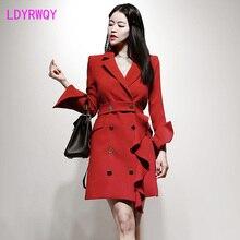 2019 autumn and winter new Korean temperament double-breasted Slim ruffled long fashion windbreaker jacket