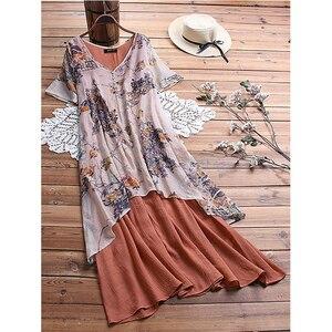 Image 2 - Cotton Linen Vintage Print Elegant Long Party Dresses Vestidos New Fashion Dress Women Loose Casual Robe Femme Plus Size 5XL
