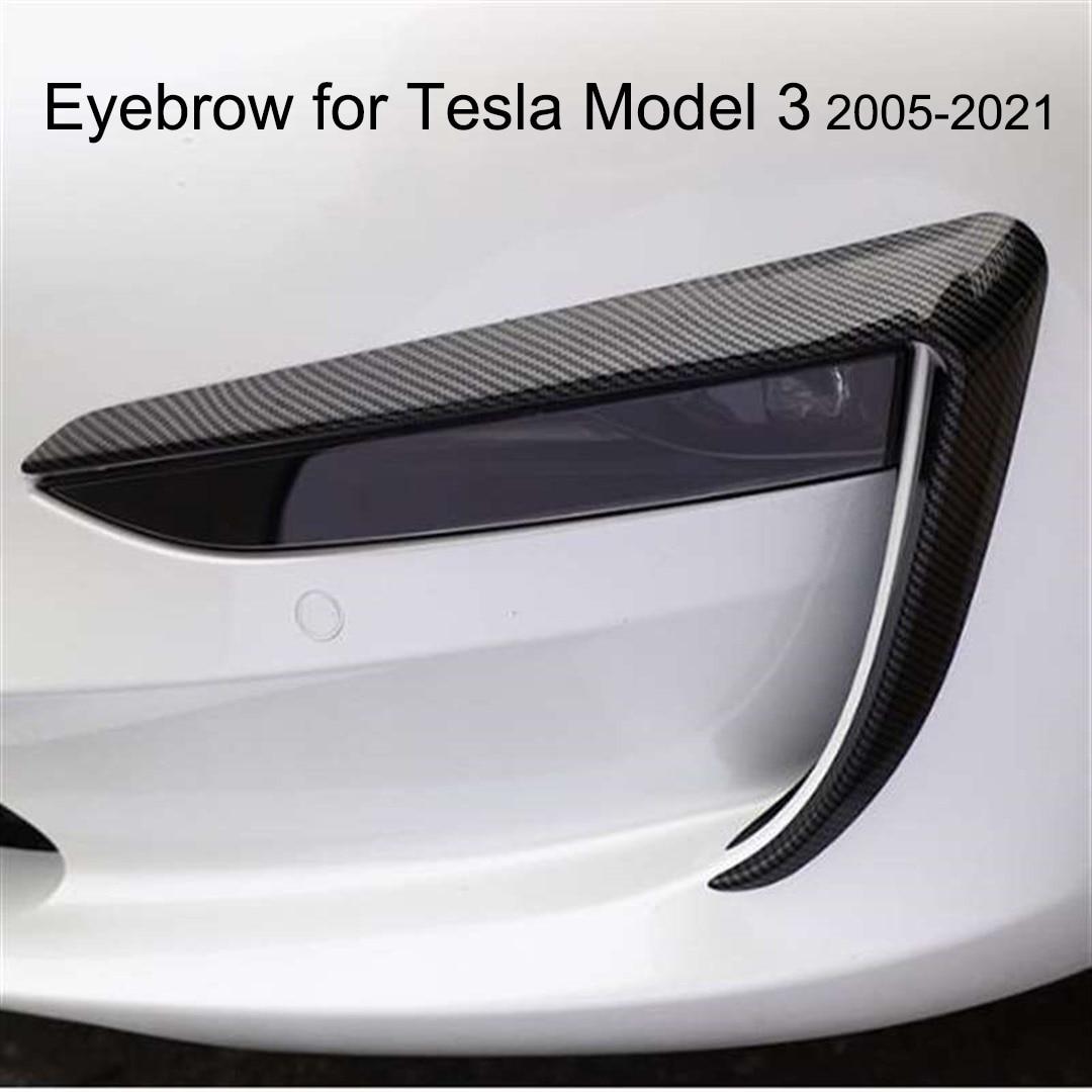 Front Fog Lamp Eyebrow Wind Knife decoration for Tesla Model 3 Matte black Carbon fiber modification automobile repacking