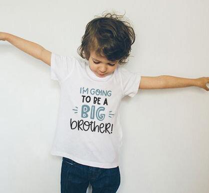 I Will Be A Big Brother Boy Summer Children's Short-sleeved Tops Casual Blouses T Shirt Summer T-shirts Clothes Trendy Tee Shirt