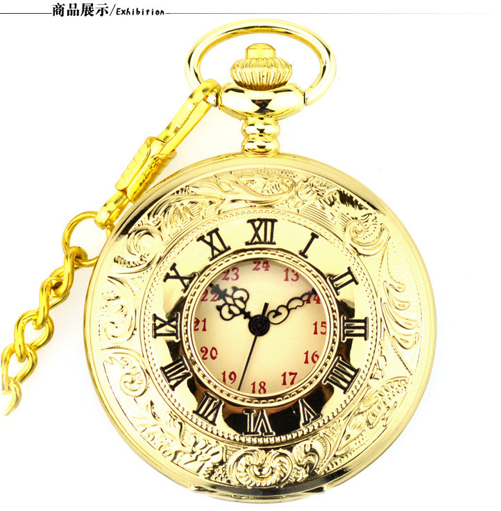Steampunk Luxury Gold Bronze Vintage Quartz Pocket Watch Vintage Pocket & Fob Watches with Fob Watch with Chain Men Gift