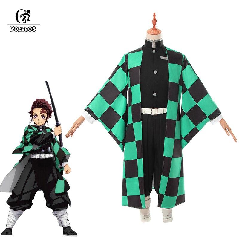 ROLECOS Anime Demon Slayer Cosplay Costume Kamado Tanjirou Kimetsu No Yaiba Cosplay Costume Men Kimono Uniform Full Set