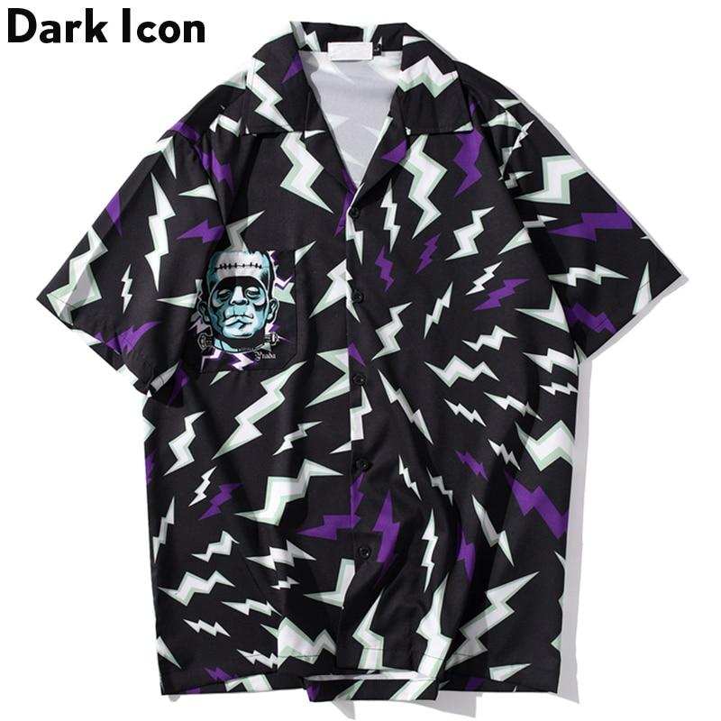 Dark Icon Lightning Printed Hip Hop Shirts Men 2020 Summer Harajuku Oversized Shirt Loose Long Sleeve Blouse For Man