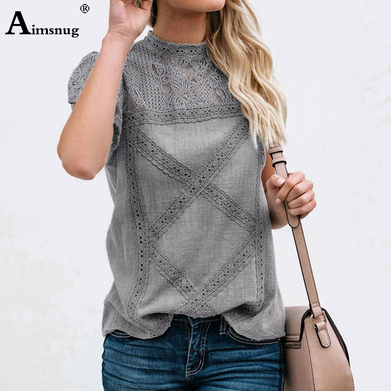 H4a01082dccb042828dcf8c783d132a5fR - Aimsnug Women White Elegant T-shirt Lace Patchwork Female O-neck Hollow Out Shirt Summer New Solid Casual Women's Tops