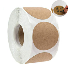 Blank Sticker DIY Party Decoration Multifunction Paper Label for Handmade Product Packaging Sealing Tags 500pcs/roll Kraft