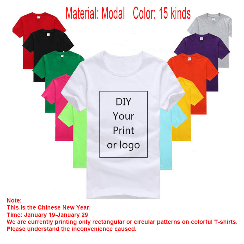 Diy Custom Logo Your Own Design Printed Tshirt Customized Text Photo Uniform Team Printing Apparel Modal Heat Transfer Process