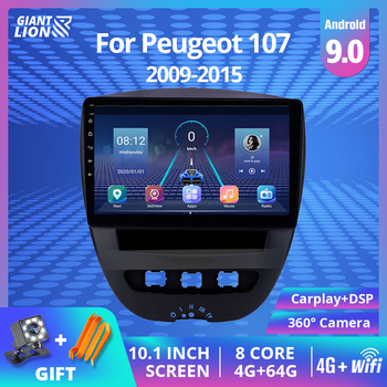 2DIN Android 9.0 Car Radio For Peugeot 107 Toyota Aygo Citroen C1 2005-2014 Multimedia Video Player Car Stereo GPS Navigation BT image