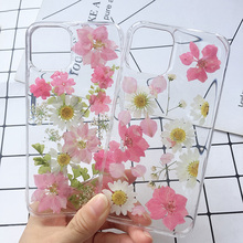 Real Dried Pressed Flowers Phone Cases For iPhone 11 Pro Max X XS Max XR 6 6S 7 8 Plus Silicone Handmade Floral Case Cover Coque real dried pressed flowers phone cases for iphone 11 pro max x xs max xr 6 6s 7 8 plus silicone handmade floral case cover coque