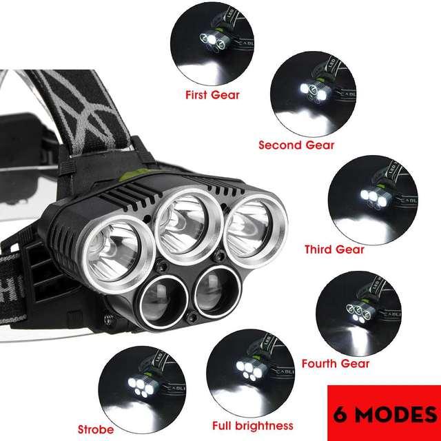 LED Headlight Headlamp 5LED Head Lamp Power Flashlight Torch Head Light 18650 Battery For Camping Fishing Hiking Riding 3