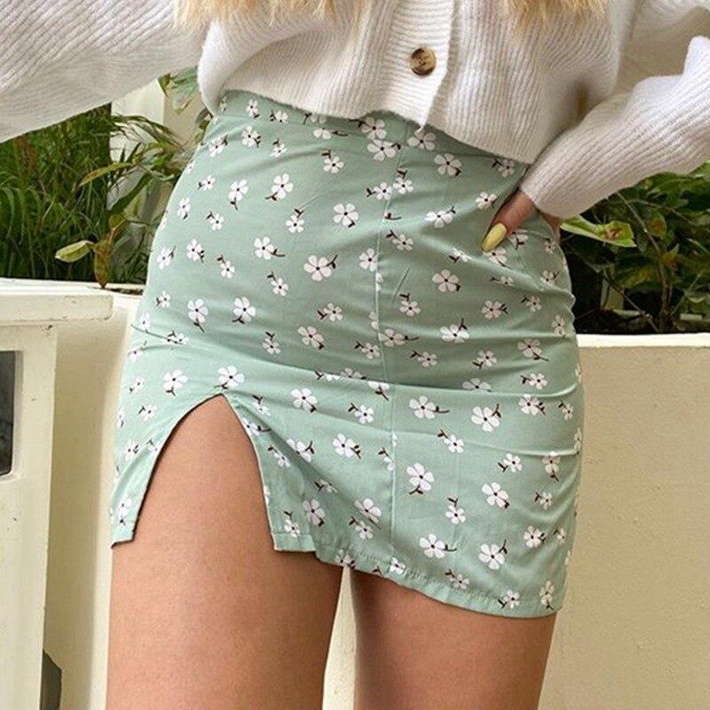 Summer Casual Mini Skirts Female Korean 2020 Women High-Waist Sexy Slim Floral Print Split Skirt For Women Short  Hip Skirt