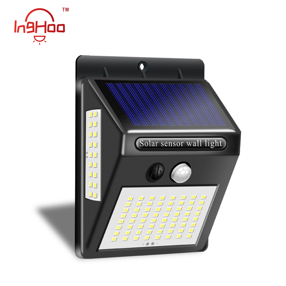 Inghoo 100LED luz solar impermeable lámpara solar con detección de movimiento al aire libre prisma jardín luces patio luces super brillo luz de pared