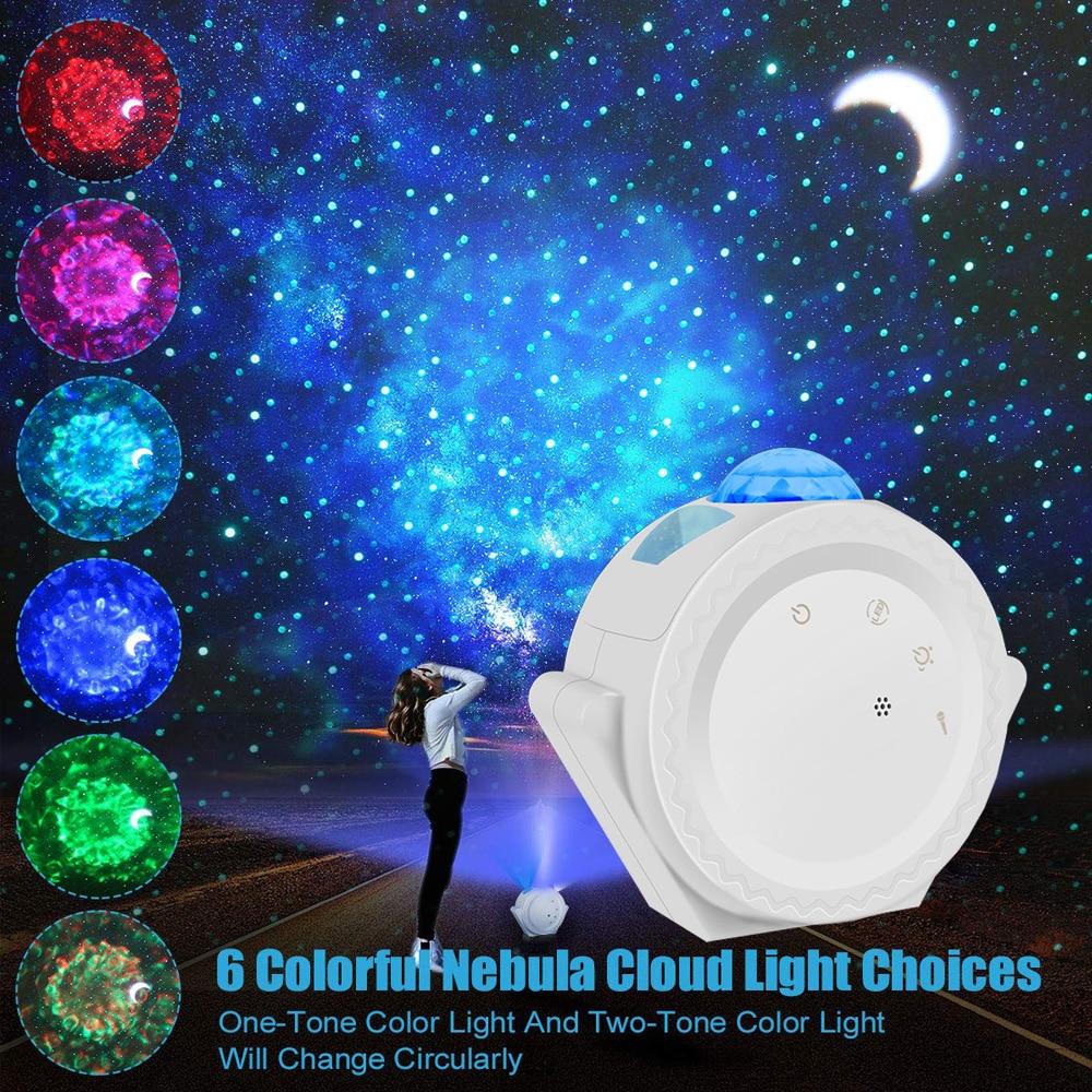 Proyector de cielo estrellado 3 en 1, luz de noche de nube de nebulosa LED, 6 colores, luz de efecto de ondas del océano, lámpara Led de Control de voz, lámpara de estrella y luna ¡Novedad! Increíble lámpara LED estrellada con diseño de cielo nocturno, luz de estrella, Cosmos Master, batería de regalo para niños, batería USB, luz nocturna para niños