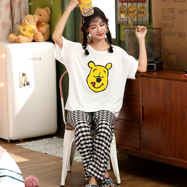 Summer Pajamas WOMEN'S Short Sleeved Long-sleeved Suit White Pooh Bear M -Xxl