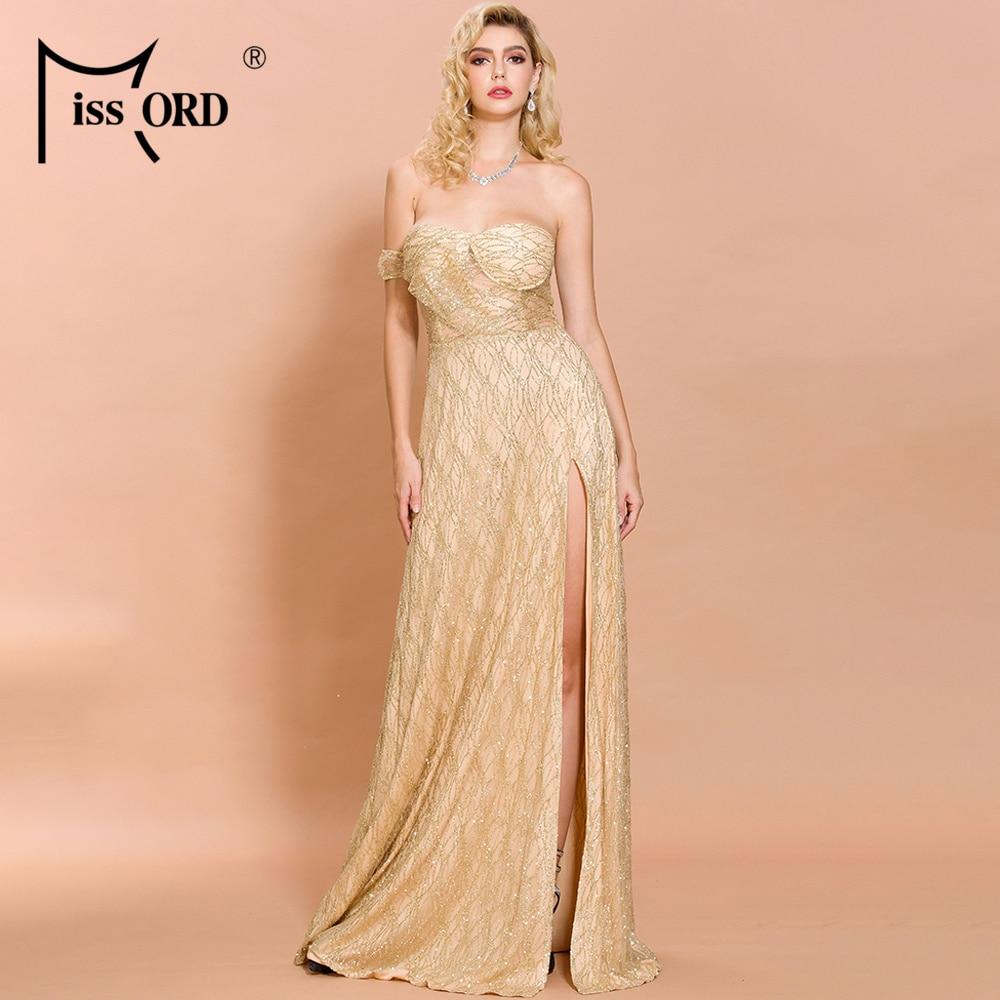 Missord 2020 Women Sexy Off Shoulder glitter Dresses Female High Split Maxi Elegant Backless  Dress  FT19526-2