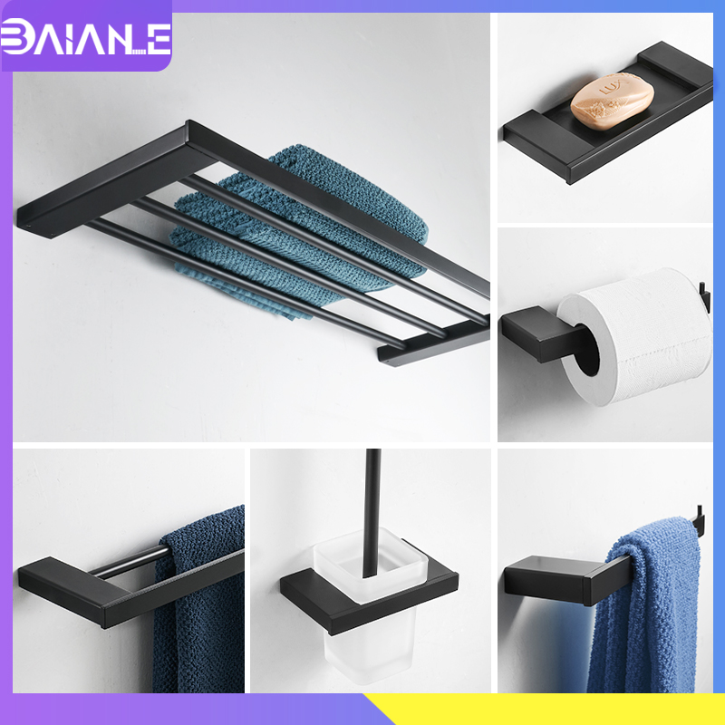 Towel Holder Black Bathroom Stainless Steel Rack Hanging Bar Toilet Paper Soap Coat Hook