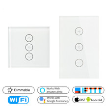 Wifi Smart Wall Touch Light Dimmer Switch EU/UK/US Standard APP Remote Control Works with Amazon Alexa and Google Home teekar eu standard smart dimmer switch 1gang work with amazon alexa google home timing function app control light switch w bulb