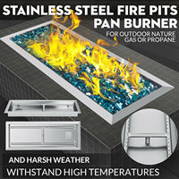 Fire Pit Pan and Burner 65 X 25 CM Drop In Outdoor Fire Bowl DIY Propane Tank|Rotisserie Parts| |  -