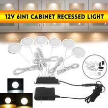 6pcs/set 12V 5W  LED Under Cabinet Lights Adjustable  Push Button Showcase Lamp For Stairs Kitchen Bathroom Wardrobe Night Light