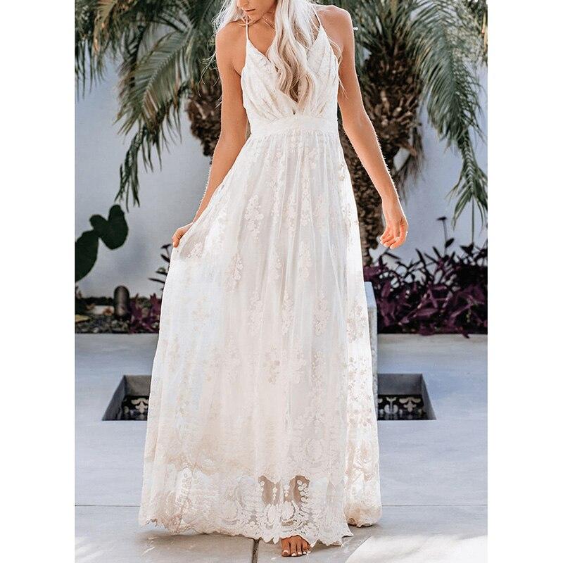 Ordifree 2020 Summer Women Long Dress Spaghetti Strap White Lace Sexy Maxi Tunic Beach Dress